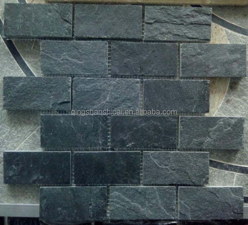 Black Mica Slate Subway Mosaics Tiles Buy Black Mica Slate Subway
