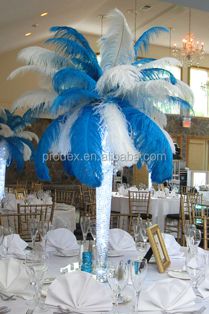 decoracion fiesta de la boda decoracin de la turquesa azul de plumas de avestruz blanca