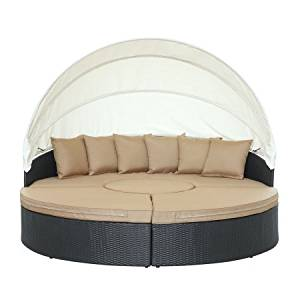 East End Imports EEI-983-EXP-MOC-SET Quest Canopy Outdoor Patio Daybed, Espresso Mocha