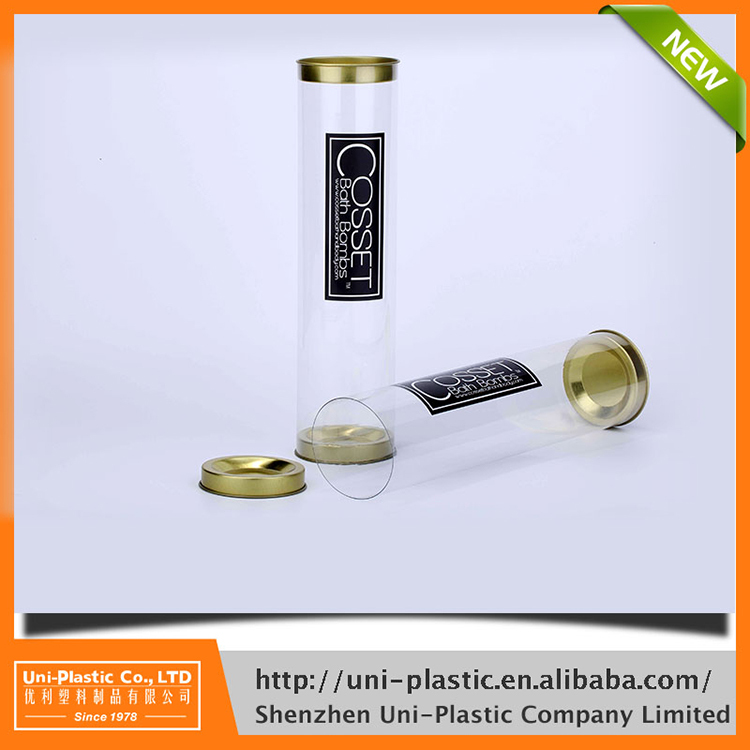 3 inches x 10 inches clear packaging tube with black metal caps