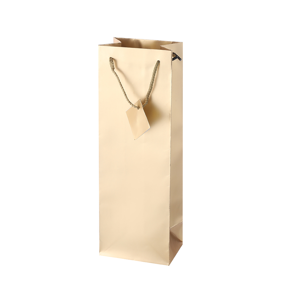 Custom Printed Retail Gold Easy Carry Square Bottom Paper Gift Bag For Shopping