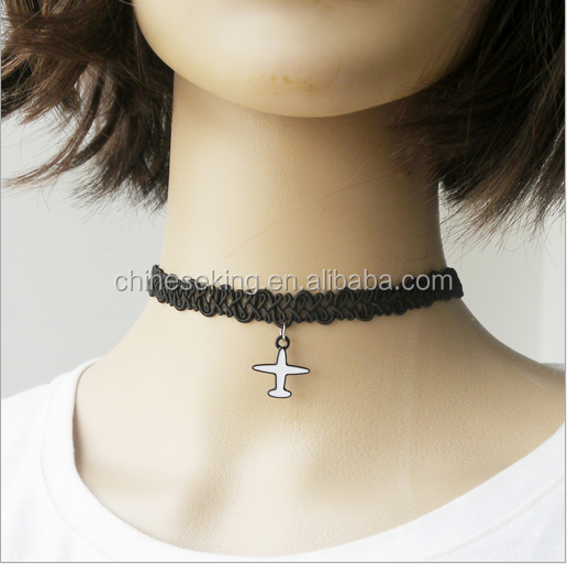 Small airplane charms design rubber band woven choker necklace handmade black rubber bands necklaces new woven necklaces 2017
