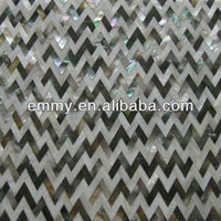 Black lip mother of pearl river shell mosaic tile wave pattern herringbone
