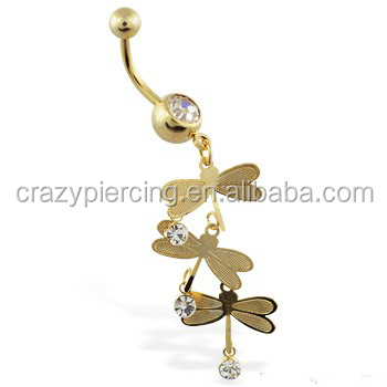 14K Gold Plated Jeweled Belly Ring With Triple Dragonfly Dangle Navel Body Piercing Jewelry