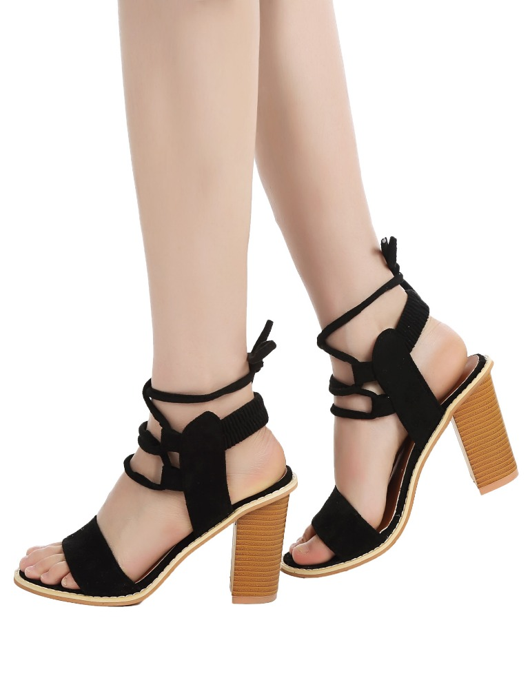 Stylish High Heel Lace Up Strappy <strong>Sandals</strong>