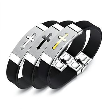 5a9fe7549e0d Marlary Dongguan fabricante de la joyería de los hombres Cruz de goma de  silicona de pulsera