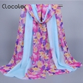Clocolor Floral Printed Chiffon Autumn Scarves for Women Colorful Spring Ladies bohemian Shawl muslim hijab Scarves