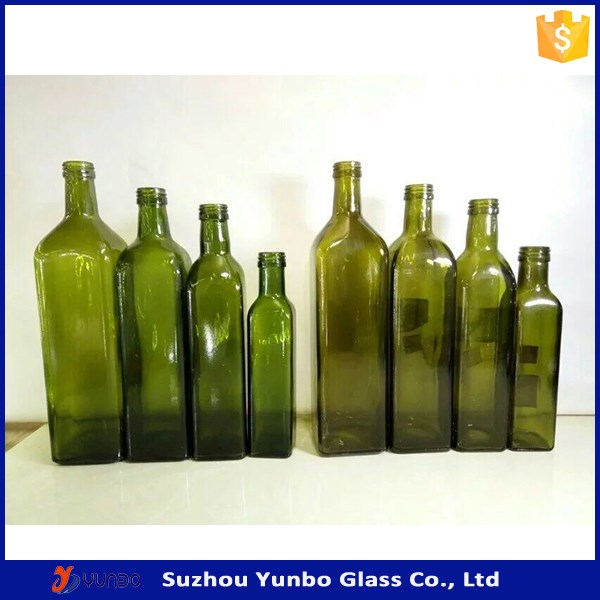 250ml 500ml 750ml 1000ml Dark Green Color Marasca Glass Olive Oil Bottles with pourer cap