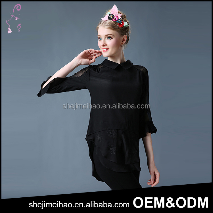 Black Color Sexy Tops Trumpet Sleeves Fashion Design Lady Blouse