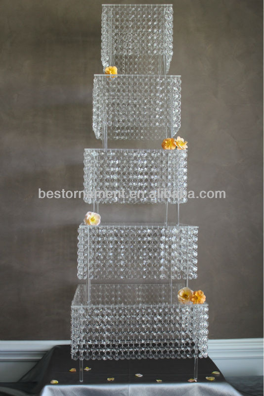5 Tier Bling Crystal Wedding Cake Stand Hanging Crystals Square Product On Alibaba