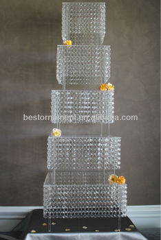 5 Tier Bling Crystal Wedding Cake Stand Buy Wedding Cake Stand Hanging Crystals Cake Stand 5 Tier Square Wedding Cake Stand Product On Alibaba Com