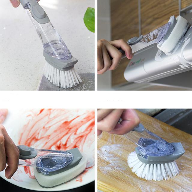 ทำความสะอาดแปรงไฮดรอลิประเภทครัวเรือนยาวจับฟองน้ำหม้อแปรงจานแปรงตู้ทำสบู่อ่างล้างจานขัดพื้น