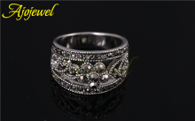 Ajojewel brand 18k white gold plated cute black cz 5 petal flower antique jewelry ring for