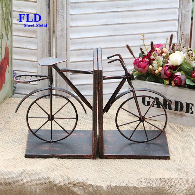 American countryside bronze bicycle shape custom bookends <strong>metal</strong> for decoration