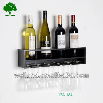 modern wall mount wine rack with 4 glass holder