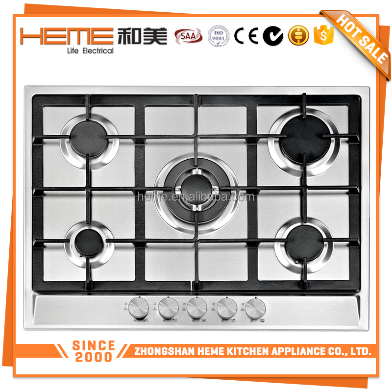 New design 70cm Enamel pan support 5 burner gas stove/cheap gas cookers/built in gas hob (PG7051S-A2CI)
