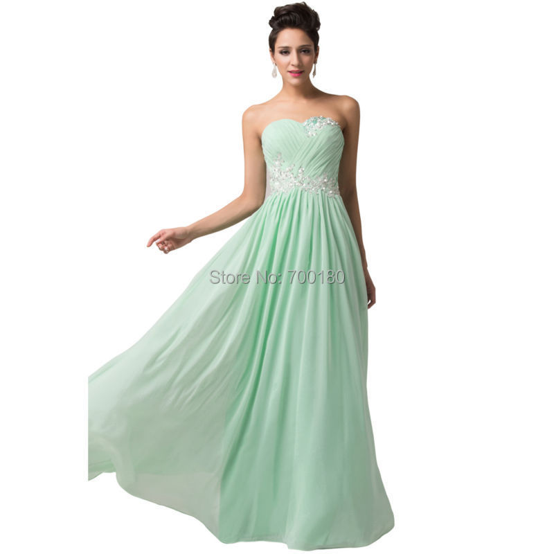 Free Shipping Sweetheart Mint Green Chiffon Long Prom Dresses Elegant Formal Long Party Dresses Cheap Evening Dress 6107