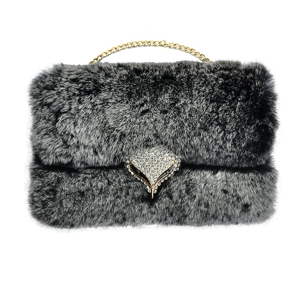 S6 Case,[Purse Design] [Fluffy Extream Delux Furry] JCmax New Arrival Luxury Bling Diamond Fox Fluffy Cover Purse [Genuine Rex Rabbit Fur Case] Winter Wammer Handmade Soft PU Case with Gold Chain for Samsung Galaxy S6 + Free Stylus Pen+ Free Screen Protector Film + Free Unique JCmax Butterfly