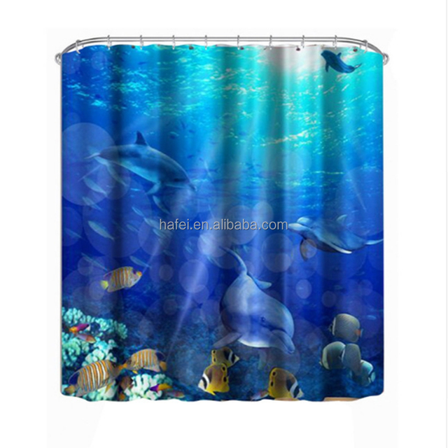 Brand New Custom Size Pattern Hotel Hookless Polyester Shower Curtain