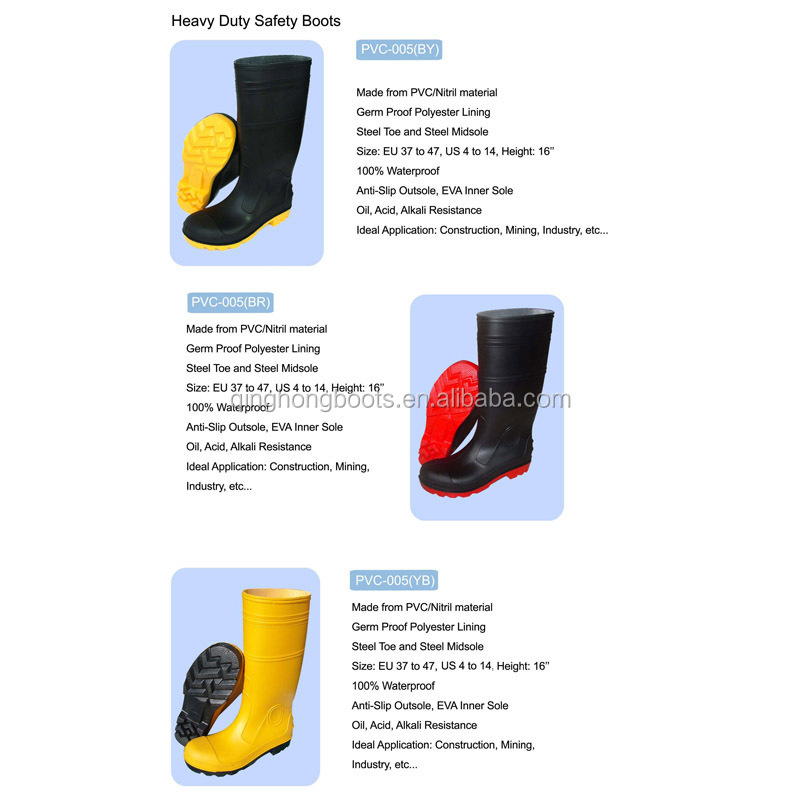 China factory high quality wholesale safety gumboots for men