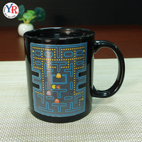 Best Selling Products 11Oz Pac-Man Print Black Sensitive Sublimation Color Changing Personalized Magic Ceramic Mug
