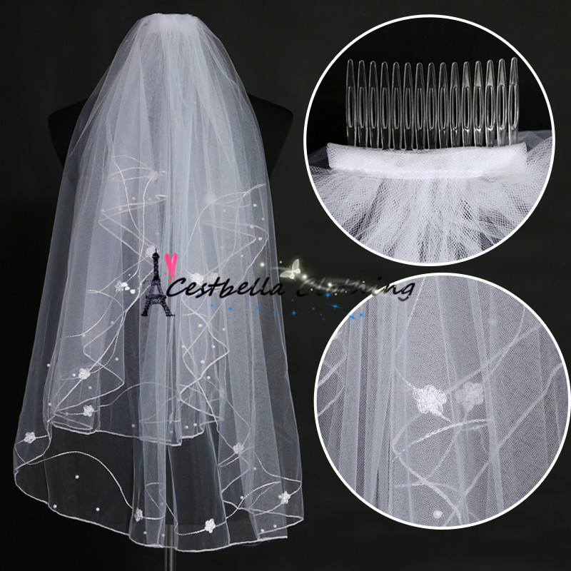 Cheap Wedding Veil At Sales White Bridal Veil Appliques Veil