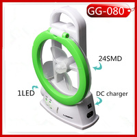 GG-080 24SMD+1W Led Rechargeable 3in1 reading lamp with fan