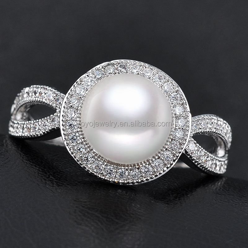 Equisite engagement new design finger pearl ring designs, View ...
