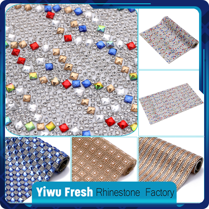Fashion 8x8 mm Variety Square Stone Crystal Hot Fix Rhinestone Mesh Sheet For Garment
