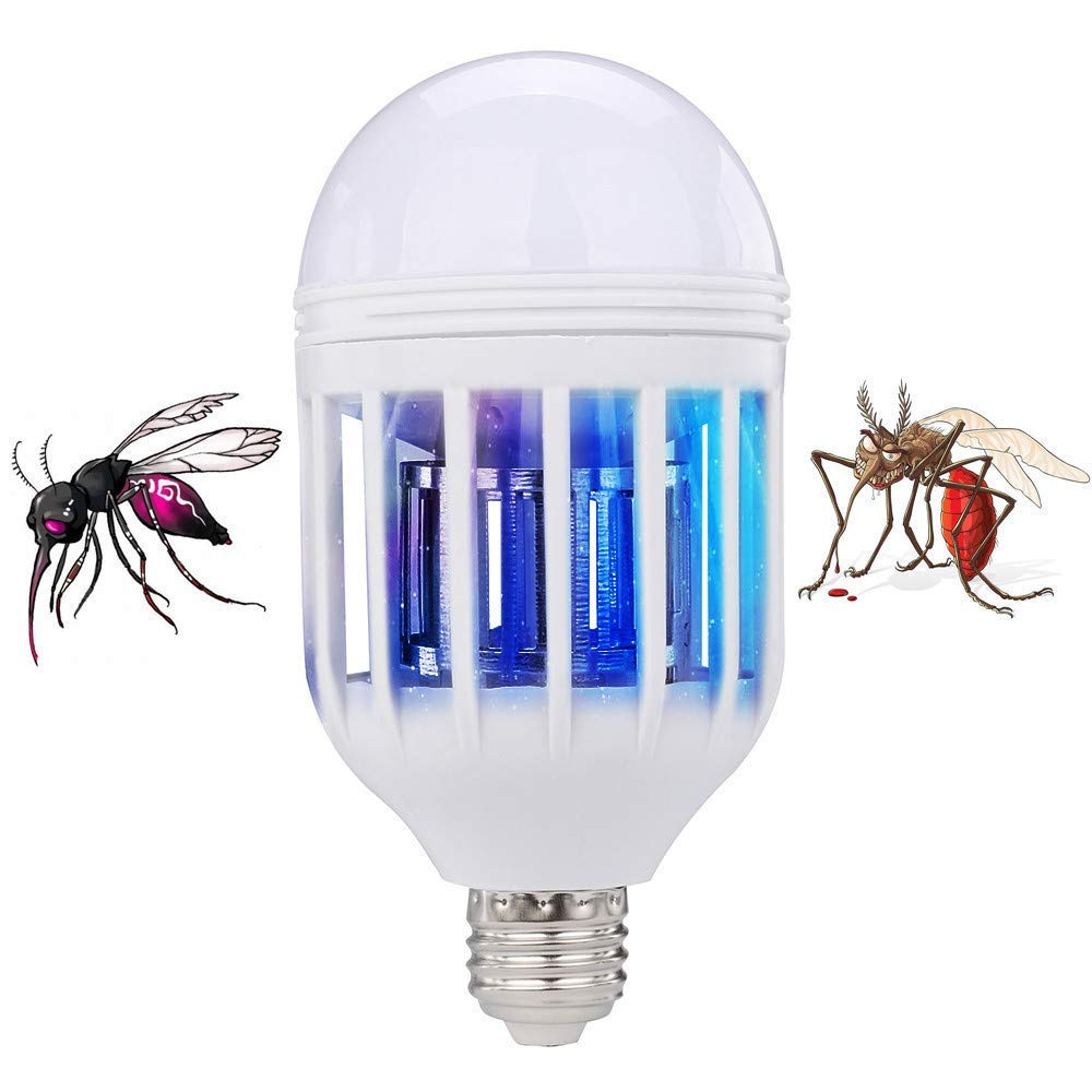 Vovomay Bug Zapper Light Bulb, Electronic Insect Killer, Mosquito Zapper Lamp, Fly Killer, Built in Insect Trap, 2 in 1 LED Bulb Socket Base for Home Indoor Outdoor Garden Patio Backyard (A)