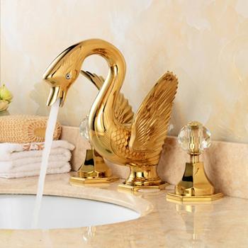 Fapully Einkaufen Online Neue Beste Verkauf Artikel 3 Loch Badezimmer  Waschbecken Armaturen Messing Gold Überzogene Schwan Armaturen - Buy Gold  Schwan ...