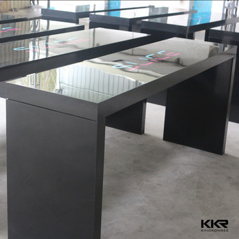 Attrayant Long Marble Bar Table, Solid Surface Stone Top Dining Table