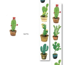1Roll=40mmx7m High Quality Cactus Cacti Pattern Japanese Washi Decorative Adhesive Tape DIY Masking Paper Tape Label Sticker
