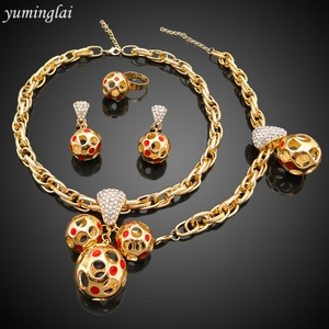 New Arrival ethiopian gold jewelry sets match woman's bag and dress,real gold plated jewelry wholesaler