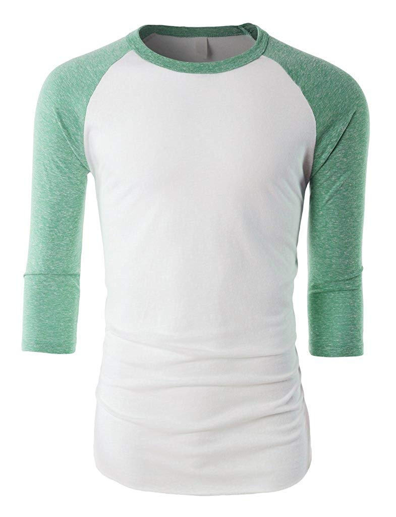 Ma Croix MX Mens Triblend Baseball Raglan 3/4 Sleeve Casual Lightweight Active Gym T Shirt