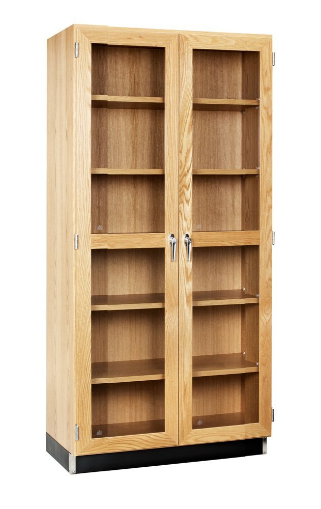 """Diversified Woodcrafts 358-3622 UV Finish Solid Oak Wood Wall Storage Case with 2 Framed Doors, 36"""" Width x 84"""" Height x 22"""" Depth"""