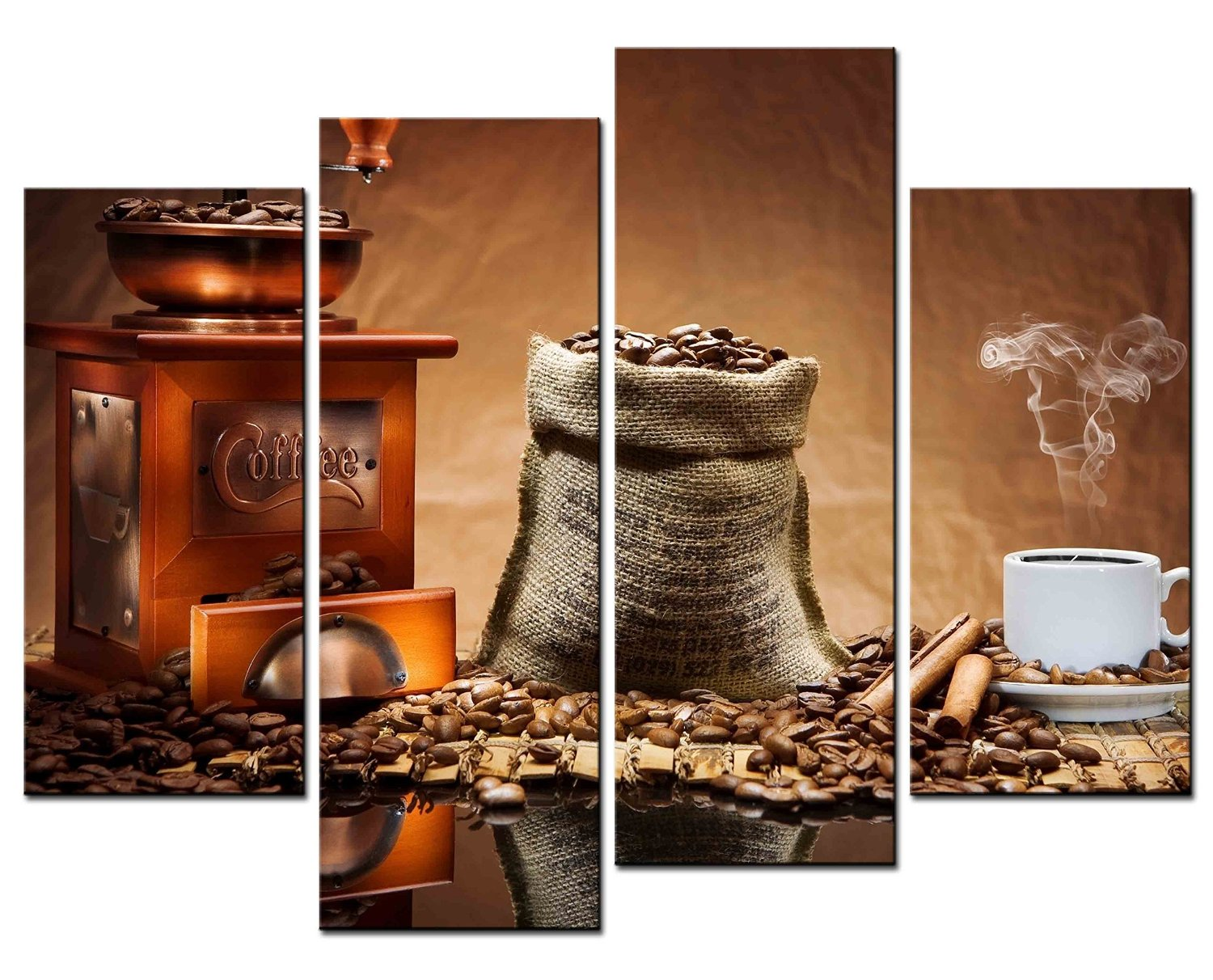 SmartWallArt - Coffee Paintings Wall Art Steaming Coffee and Coffee Beans Grinder 4 Panel Picture Print on Canvas for Modern Home Decoration