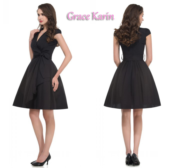 Audrey Hepburn Vestidos 2015  Grace Karin Women Summer Black Retro Casual Robe Rockabilly Vintage 50s 60s Dresses Plus Size 6087