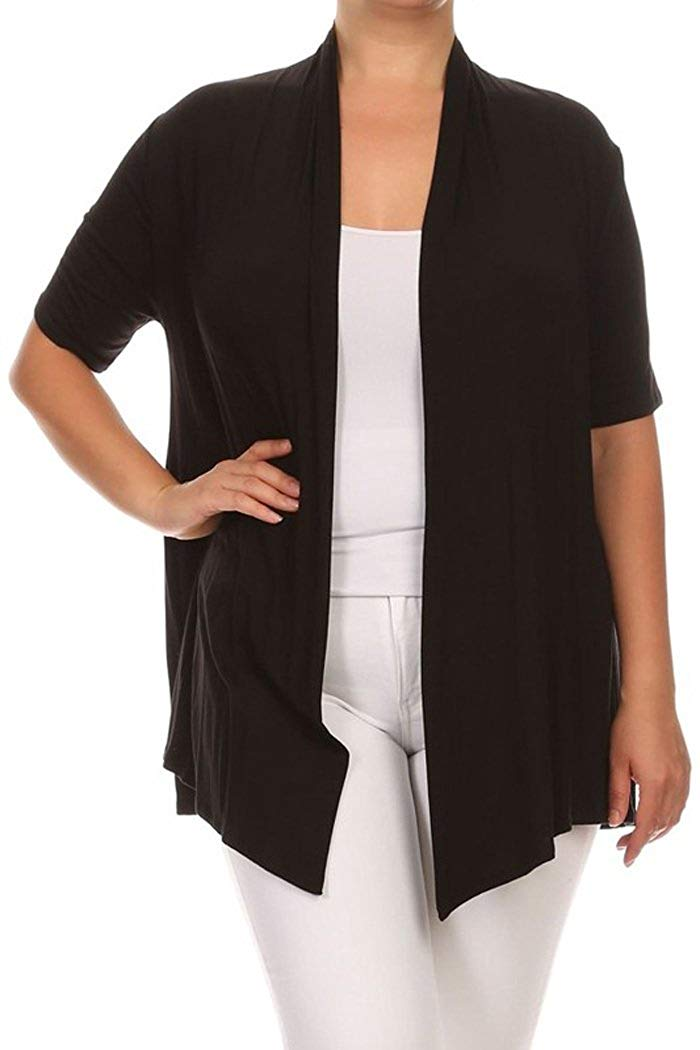 1100c30e3f Get Quotations · Basic Plus Size Open Front Short Sleeve Solid Cardigan  (MADE IN USA)