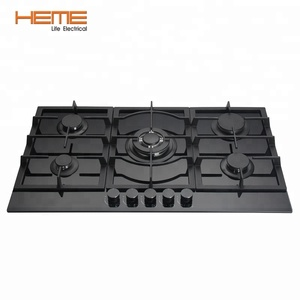 5 burner tempered glass gas cooker stove in 90 cm industrial built in gas hob