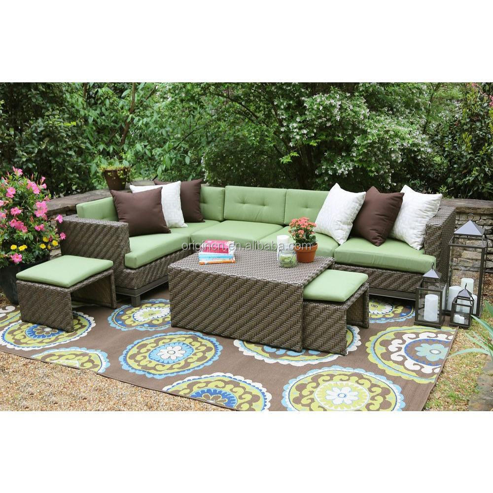 7 Seater Green Brown Color Combination Garden Set With Hidden Cushioned Stools Rattan Outdoor Patio Furniture