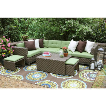 7 Seater Green/brown Color Combination Garden Set With Hidden Cushioned  Stools Rattan Outdoor Patio