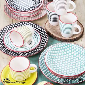 20 pieces set latest silk screen round dot ceramic stoneware dinner set