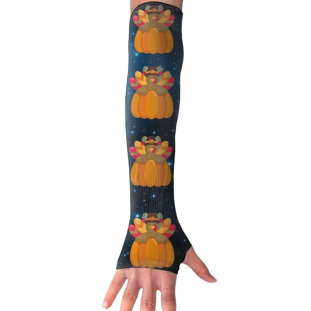 Thinksgiving Turkey And Pumpkin Unisex UV Protection Cooling Arm Sleeves For Men Women Sunblock Cooler Protective Sports