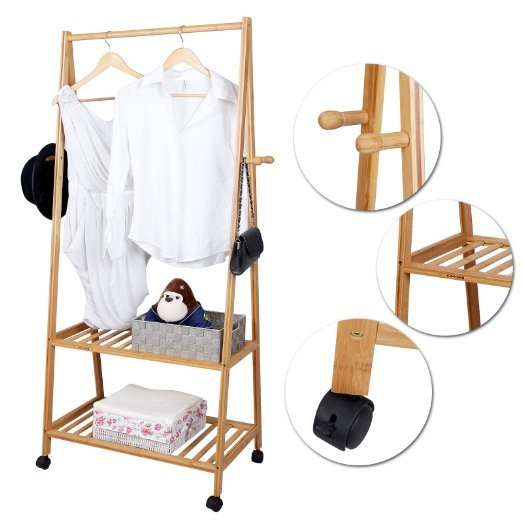 Multi Function Bamboo Garment Laundry Clothes Rack With Wheels