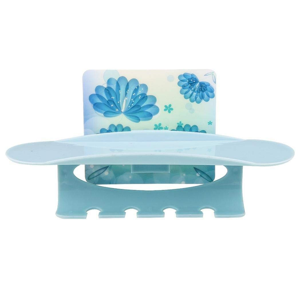 Multifunctional Plastic Toothbrush Holder Suction Cup Wall Stand Hook Wall Mount Hanging Stand Rack Bathroom Accessories Storage Organizer Shelf (Blue)