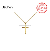 2018 New Arrival Product 925 Sterling Silver Jewelry, Beautiful Gold Plating Cross Pendant Necklace for Women