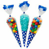 Transparent Cone Shaped Clear Candy Treat Cello Plastic Bag with Twist Ties