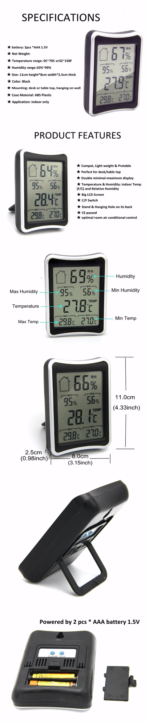 Display Thermometer Hygrometer Humidity Thermometer with Max Min Record Function for Warehouse
