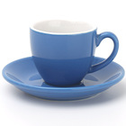 100ml glossy blue color ceramic expresso coffee cups mugs and saucers sets